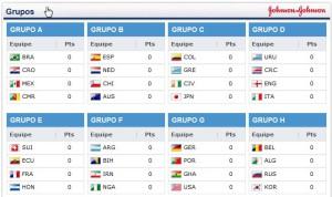 Composição dos oito grupos do mundial