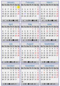 Calendário 2015 com feriados portugueses