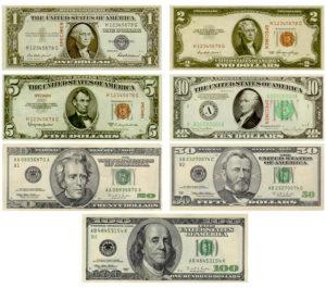 Billetes em dolares dos Estados Unidos