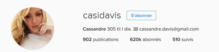 Cassandre  Davies no Instagram